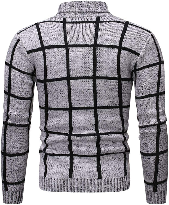Men's Classic Plaid Sweater Jacket Fashion Turndown Collar Spring and Autumn