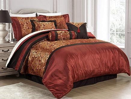 New 7-Piece Jacquard Floral Comforter Sets Cal King, Modern Print Flower 7 piece Bedding Sets Bed-in-a-Bag Cal King, Red/Black