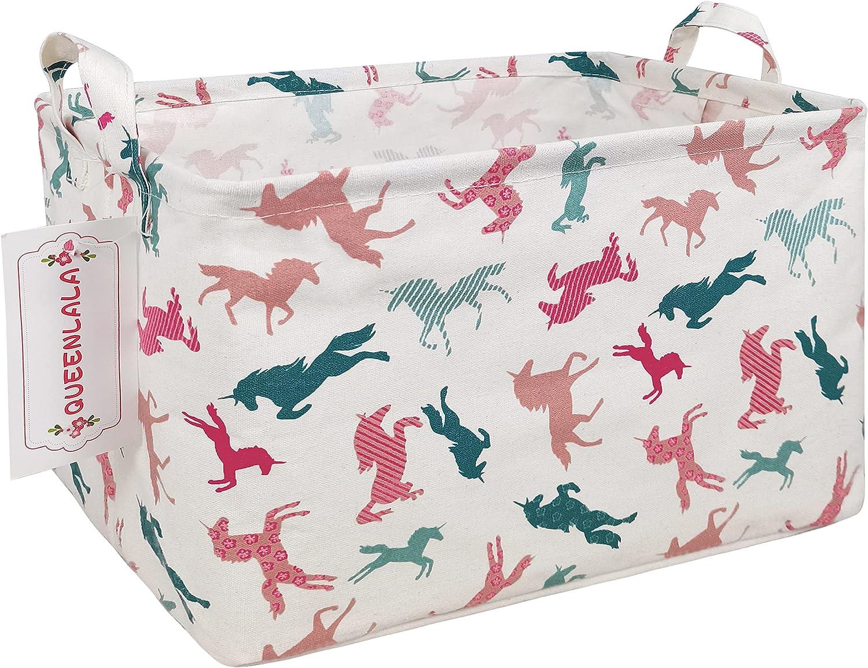 QUEENLALA Rectangular Laundry Hamper/Foldable Nursery Rec-Color-Unicorn