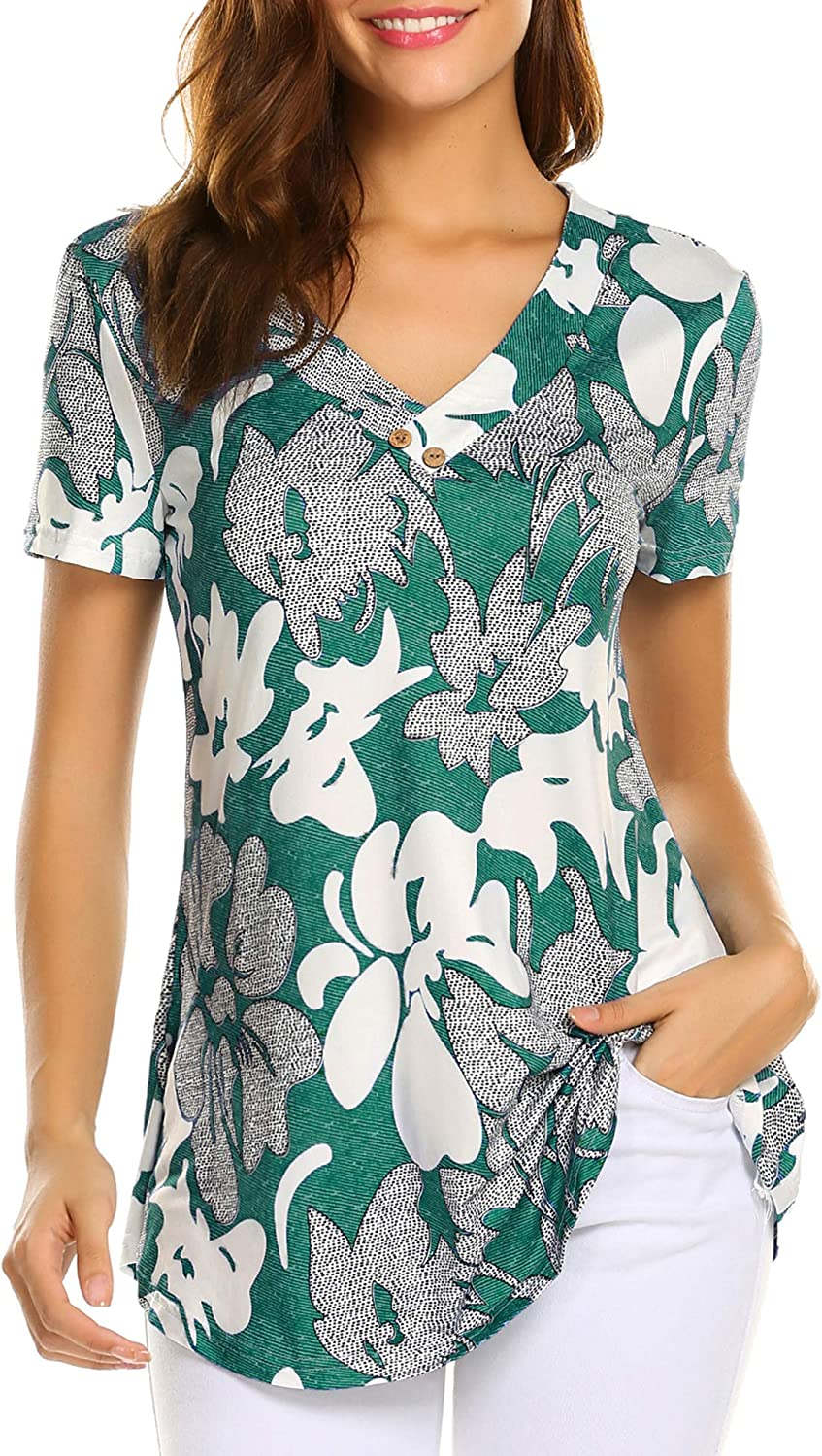Sweetnight Women Floral Print V Neck Button Decor Peasant Swing Tunic Tops Shirts