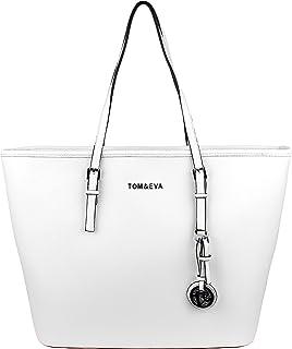 Tom & Eva Damen Tasche - Saffiano Shopper Schultertasche aus Kunstleder, Weiß mit Silver Anhänger