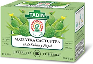 Tadin Herb & Tea Co. Aloe Vera Cactus Tea, Caffeine Free, 24 Tea Bags, Pack of 6