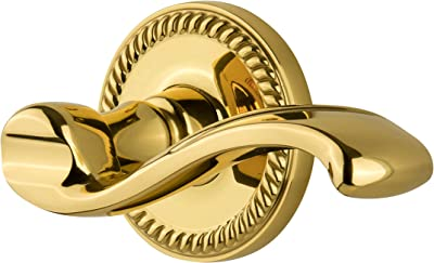 Grandeur Newport Rosette with Left Handed Bellagio Lever 2.375 NEWBEL-40-LH-LB Privacy Lifetime Brass Privacy 2.375