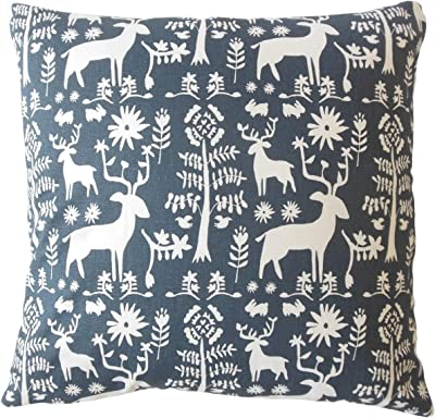 SARO LIFESTYLE 921.NB18S Square Printed Ikat Design Dwon Filled Throw Pillow 18 Navy Blue