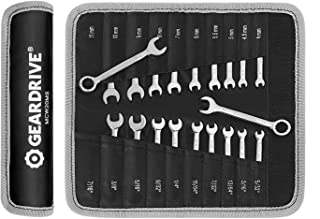 GEARDRIVE Mini Combination Wrench Set, Midget Wrench Set, Metric & SAE, 20-Piece, 4-11mm & 5/32'' to 7/16'', Lightweight, with Rolling Pouch