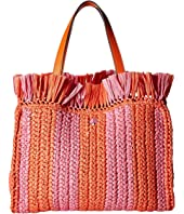 Kate Spade New York - Sam Stripe Straw Medium Satchel
