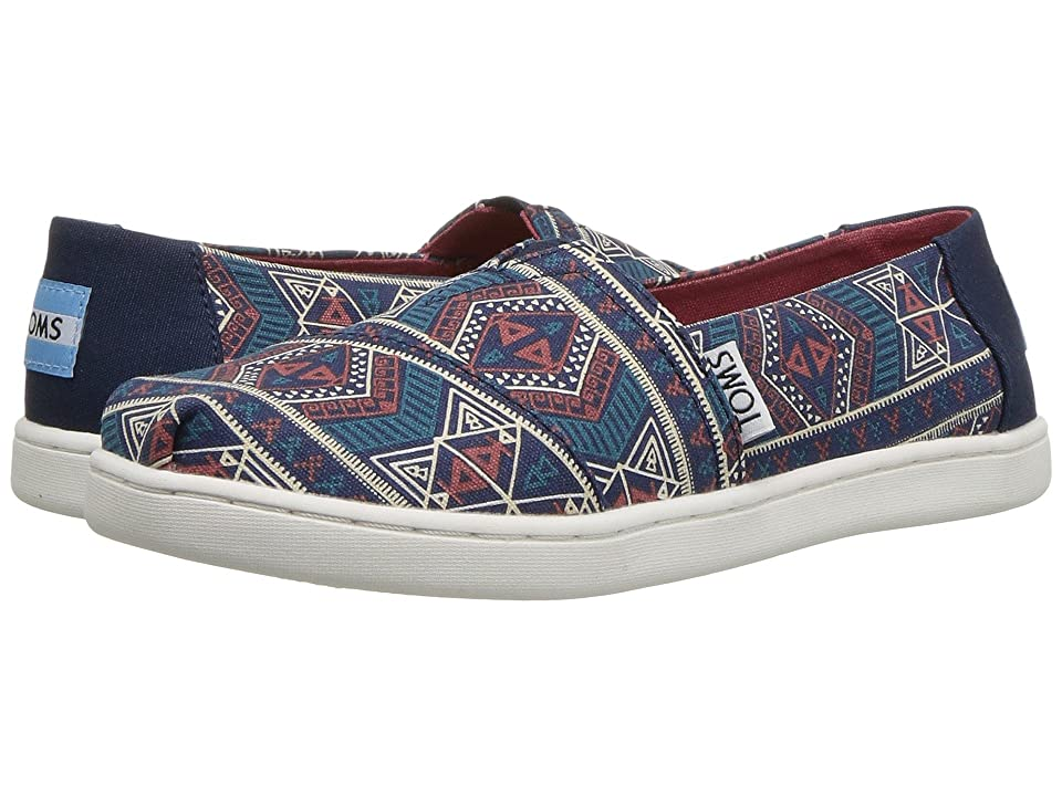 TOMS Kids Alpargata (Little Kid/Big Kid) (Navy Forest Tribal) Girl