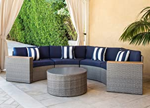 SOLAURA Outdoor 5-Piece Sectional Furniture Patio Half-Moon Set Gray Sofa Nautical Navy Blue Cushions & Sophisticated Glass Coffee Table