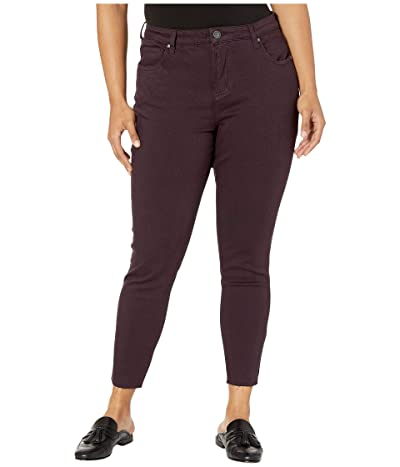 KUT from the Kloth Plus Size Donna High-Rise Ankle Skinny Raw Hem in Eggplant (Eggplant) Women
