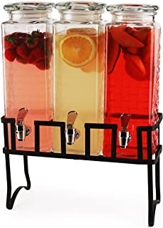 Circleware 69158 Preston Triple XL Tall Square Glass Beverage Dispensers and Metal Stand, 80 oz. each, Glassware for Water, Iced Tea Kombucha, Punch and all Cold Drinks