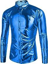 COOFANDY Men's Metallic Shiny Nightclub Slim Fit Long Sleeve Button Down Party Shirts