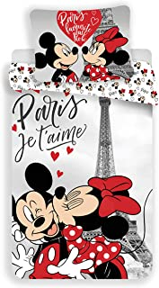 Disney Minnie et Mickey Paris Je T'Aime - Juego de Funda nórdica de algodón