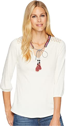 Wrangler Long Sleeve Peasant Top with Crochet Shoulders