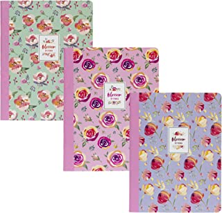 Pukka Pad 3-Pack Composition Notebook 70 Premium 80 GSM Ruled Sheets Blossom: Pink Green Purple
