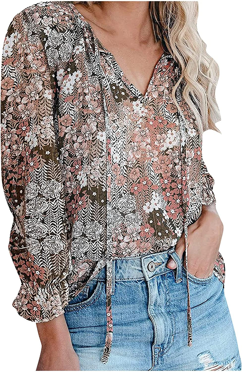 Tops for Women Casual Summer Bohemian Floral Printed Blouse Fall V-Neck Long Sleeve Shirt Casual Loose T-Shirt