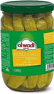AL Wadi Pickled Wild Cucumbers In Glass Jar, 1 kg (Pack of 1)