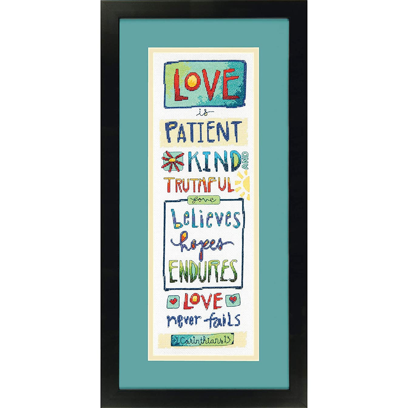 Dimensions 'Love Is' Counted Cross Stitch Kit for Beginners, 14 Count White Aida Cloth, 6'' x 18''