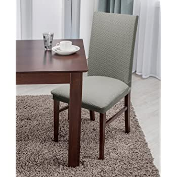 Amazon Com Linen Store Basket Weave Texture Dining Chair Cover Stretch Form Fitting Fabric Parson Chair Slipcover Gray Home Kitchen