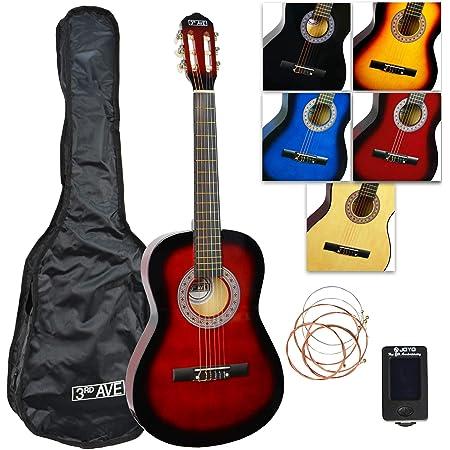 3rd Avenue Pack guitare classique taille 3/4, guitare acoustique avec housse, cordes et accordeur – Rouge
