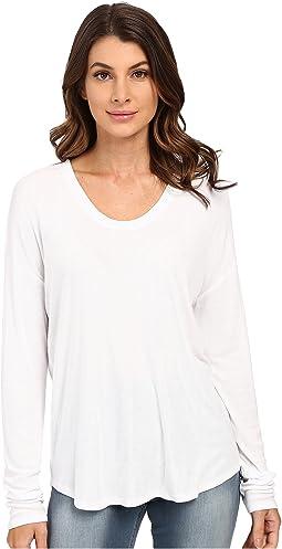 Long Sleeve Rib Shirt Tail Tee