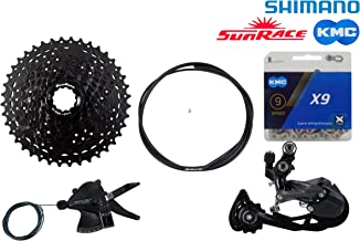JGbike 9 Speed 1x9 groupset for Shimano M2000: Right Shift Lever,M2000 Shadow Rear Derailleur, Sunrace 11-40T Cassette M990, KMC X9 Chain