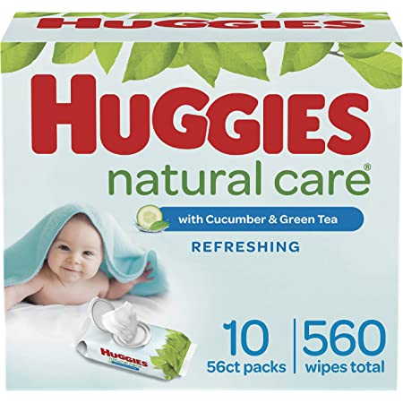 Baby Wipes, Huggies Natural Care Refreshing Baby Diaper Wipes, Hypoallergenic, Scented, 10 Flip-Top Packs (560 Wipes Total)
