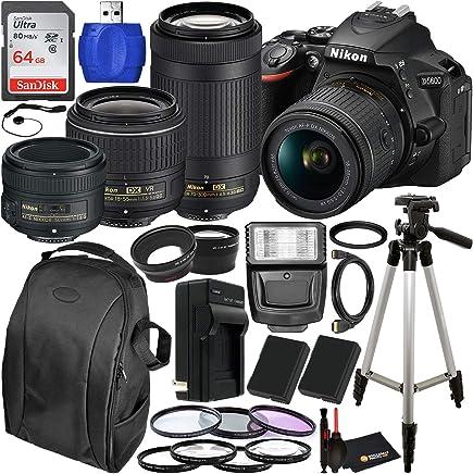 $996 Get Nikon D5600 DSLR Camera with 18-55mm, 70-300mm, 50mm Nikon Lenses and 22PC Accessory Bundle – Includes: 2X Spare Batteries + Digital Slave Flash + 3PC Filter Set + 4PC Macro Lens Set + More
