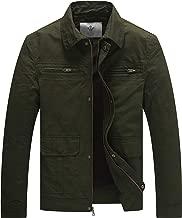 WenVen Men's Outdoor Work Wear Casual Military Lapel Zip Jacket
