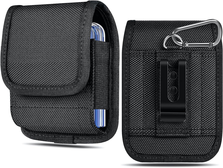 ykooe Phone Holster for Samsung Galaxy Z Flip/Z Flip 5G/Z Flip 3 5G, Motorola Razr 2019/ Razr 5G Nylon Vertical Cellphone Belt Clip Holster Pouch Holder Waist Carrying Hanging Bag Case