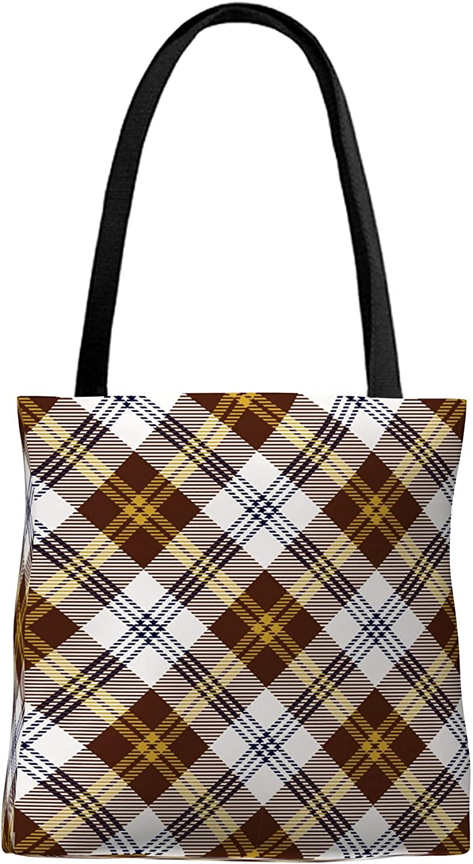 Nice Tote bag , should bag , handbag with pattern design No.3110: yellow brown scotland check