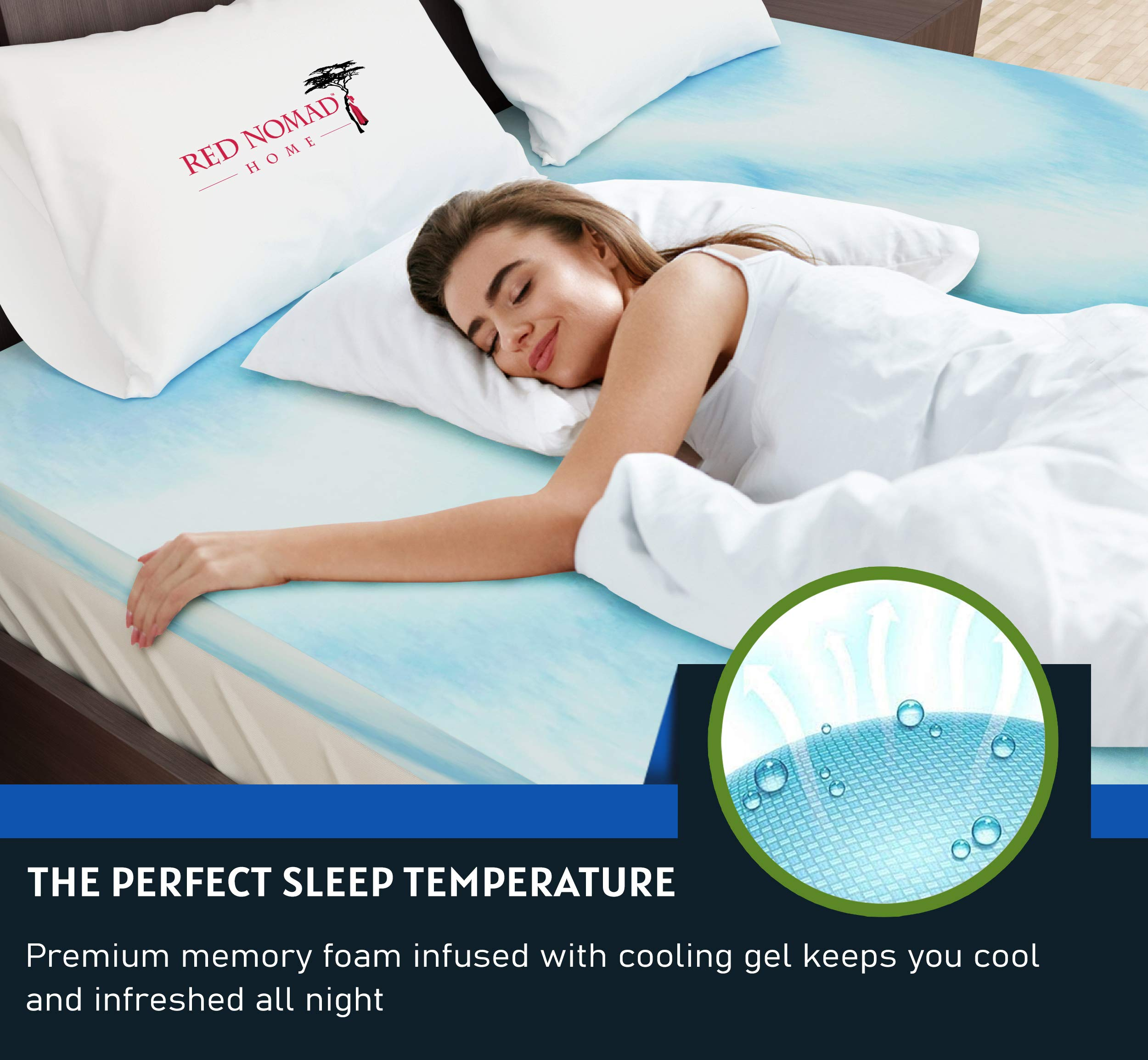 Red Nomad Memory Foam Mattress Bed Topper 4 Inch Twin Size