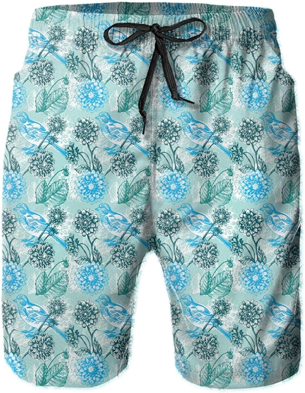 Springtime Illustration with Blooming Flowers and Sparrows Abstract Nature Art Mens Swim Trucks Shorts with Mesh Lining,M