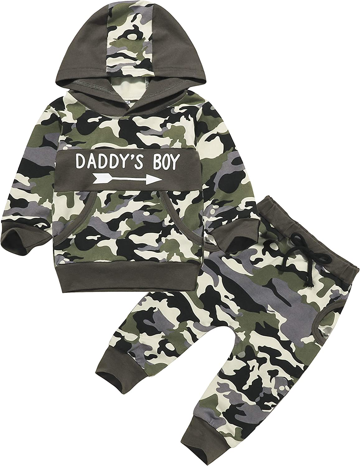Infant Baby Boys Girls Pants Set Camouflage Hoodie Tops+Long Pants Sweatshirt Outfits Fall Winter Clothes