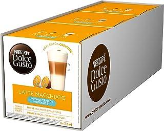NESCAFÉ Dolce Gusto Latte Macchiato ungesüßt, 48 Kaffeekapseln, Ohne zugesetzten Zucker, Espresso, 3-Schichten -Köstlichkeit aus feinem Milchschaum, Aromaversiegelte Kapseln, 3er Pack 3 x 16 Kapseln