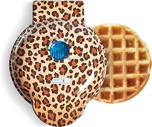 Dash DMW100LP Machine for Individual, Paninis, Hash Browns, & other Mini waffle maker, 4 inch, Orange Leopard