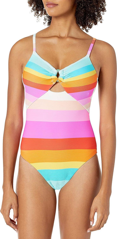 Trina Turk Women's High-Leg Scoop Neck Maillot One Piece Swimsuit