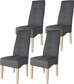 Miroytengo Pack 4 sillas Comedor salón Modernas Tela Color Gris Estructura y pies de Madera