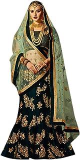 Ethnicset Embroidered Silk Semi Stitched Lehenga Choli For Women (Heavy Green)