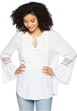 Ruffle Cuff Tie Neck Blouse w/ Lace Applique