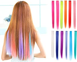OneDor 23 Inch Colored Party Highlights Straight Hair Clip Extensions. Heat-Resistant Synthetic Hair Extensions in Multiple Colors (Full Color Set 12 Pcs)