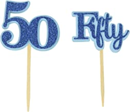 All About Details Blue Fifty Cupcake Toppers, Set of 12