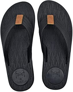 KuaiLu Flip Flops for Mens Comfortable Footbed Summer Holiday Beach Sandals Wide Fit Soft Fabric Toe Post Thongs Pool Show...