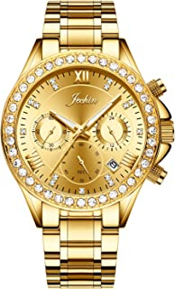 Jechin Unisex Luxury Diamond Crystal Men Chronograph Watch Gold Stainless Steel Bracelet Womens Watches