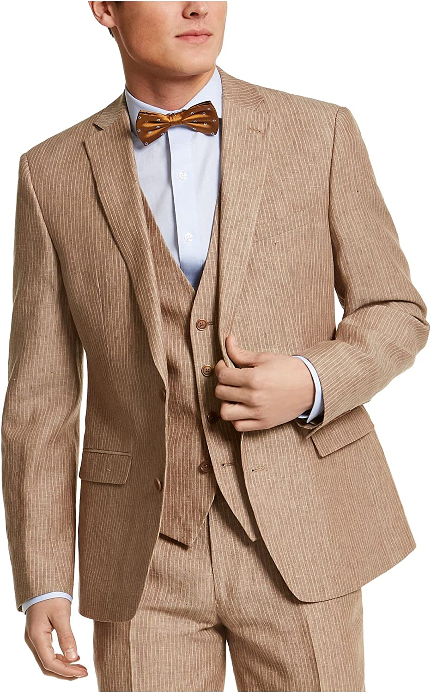 Bar III Mens Sport Coat Brown Long Slim-Fit Pinstripe Blazer Beige 42