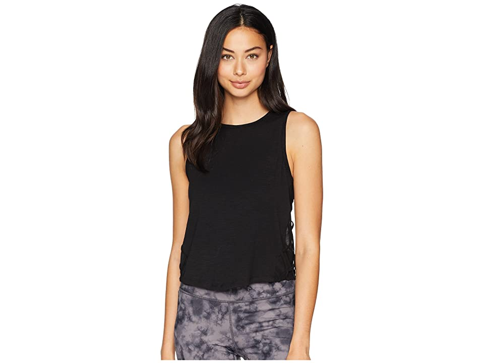 Jessica Simpson TheWarmUp Mesh Side Tank Top (Jet Black) Women