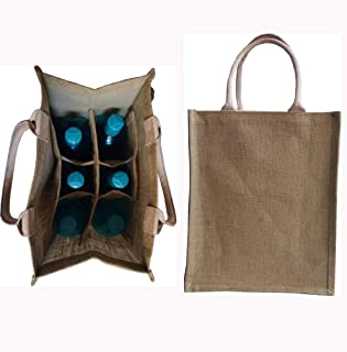 KVR natural Jute burlap wine beer water bottle cum can carrier bag with option to use as Grocery & lunch bag, Eco Environment Friendly versatile flexible (6 bottle bag, natural)