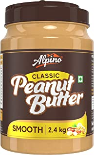 Alpino Classic Peanut Butter Smooth 2.4 KG   Made with Roasted Peanuts   25% Protein   Non GMO   Gluten Free   Vegan
