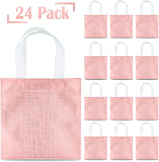 Whaline 24 Pieces 8''x8'' Non-Woven Party Bags, Small Glossy Tote Bags with Handles, Reusable Grocery Bag, Gift Bag, DIY Craft Bag, Goodies Bag, for Event, Wedding, Birthday (Rose Gold)