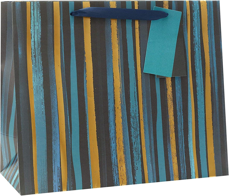 Birthday Gift Bag with Stripes - Large Congratulations Gift Bag - Gift Bag for Him - Celebration Gift Bag for Him