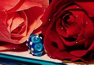 Perla Pireta, Perla in vetro di Murano, Perla Turchese trasparente, Cordino con nodo regolabile, ipoallergenico, Fatto a m...